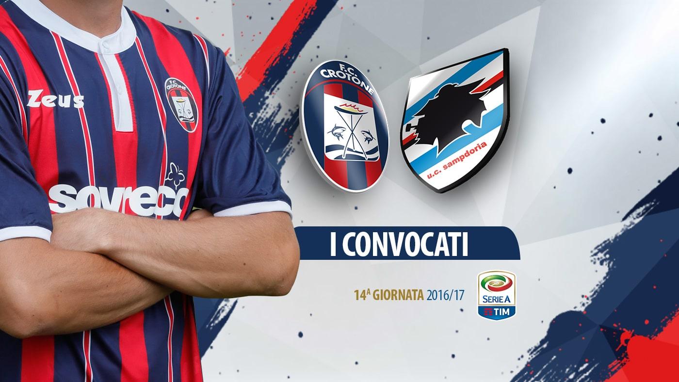 Crotone – Sampdoria: i convocati da Mister Nicola