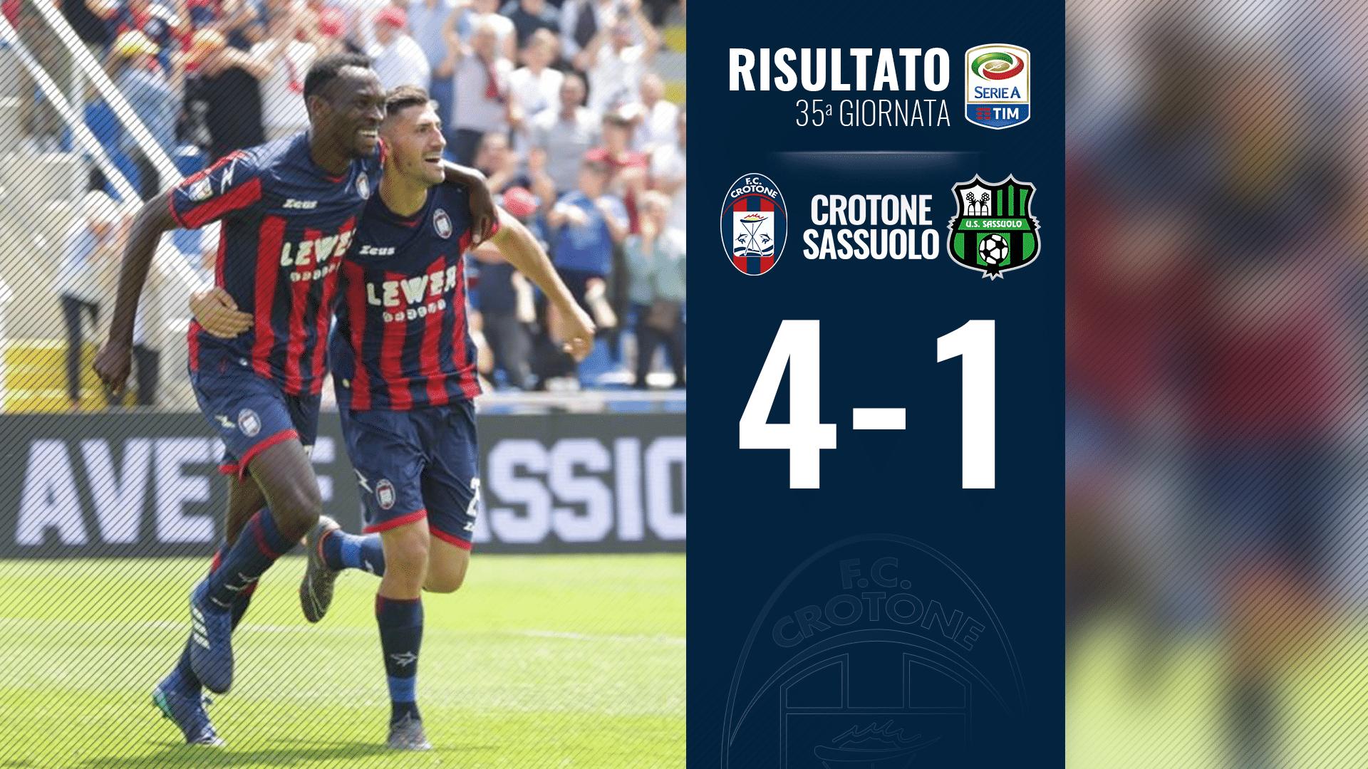 Seria A, 35a giornata: Crotone-Sassuolo 4-1