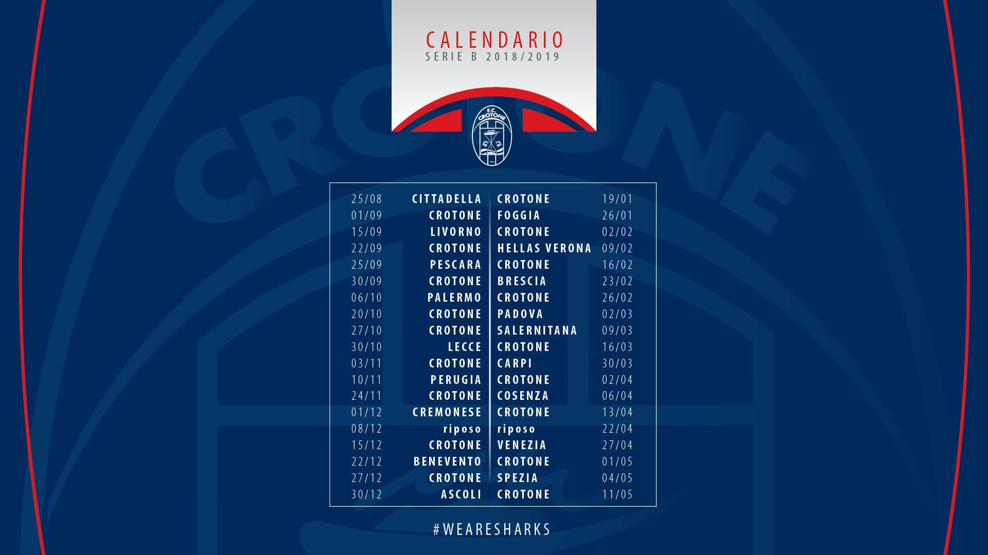 Calendario Serie A 201920 Sorteggio.Crotone Calendario Calendario 2020