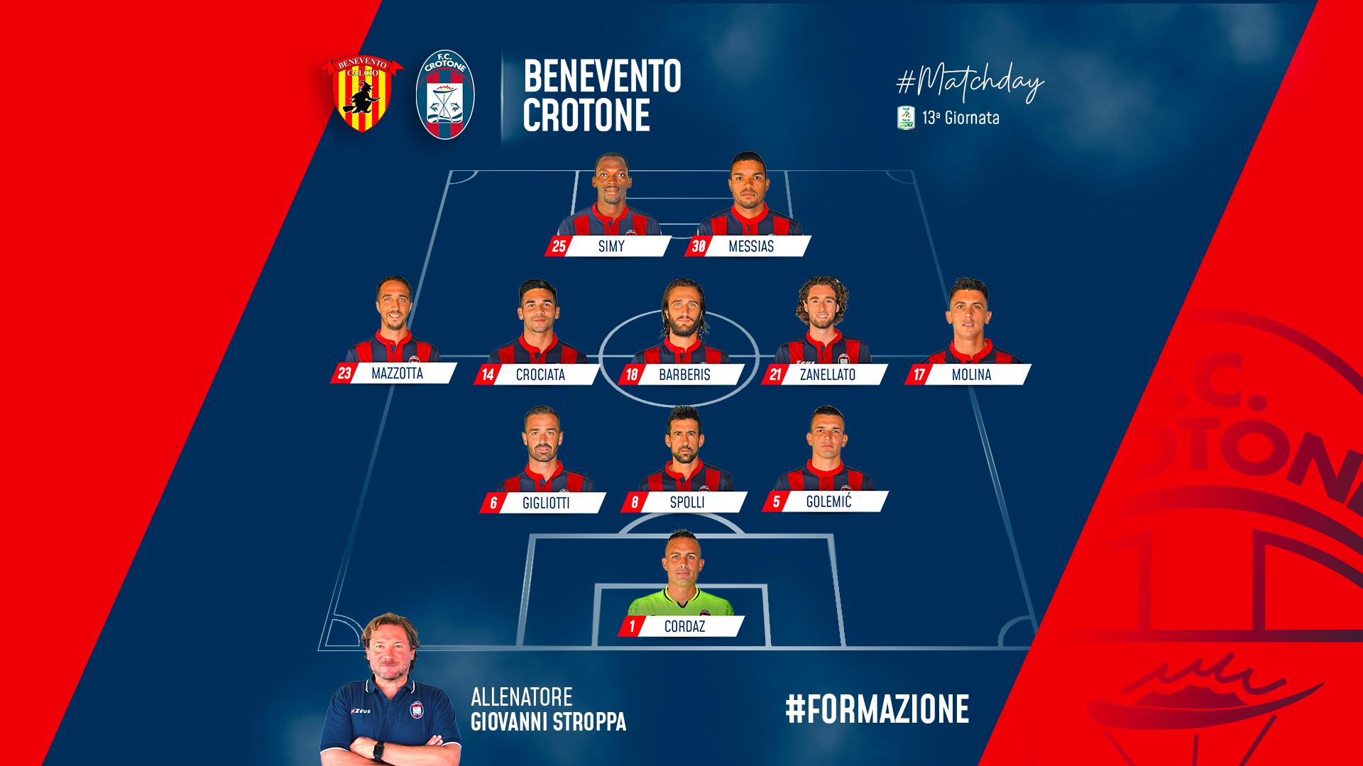 #BeneventoCrotone, le formazioni ufficiali