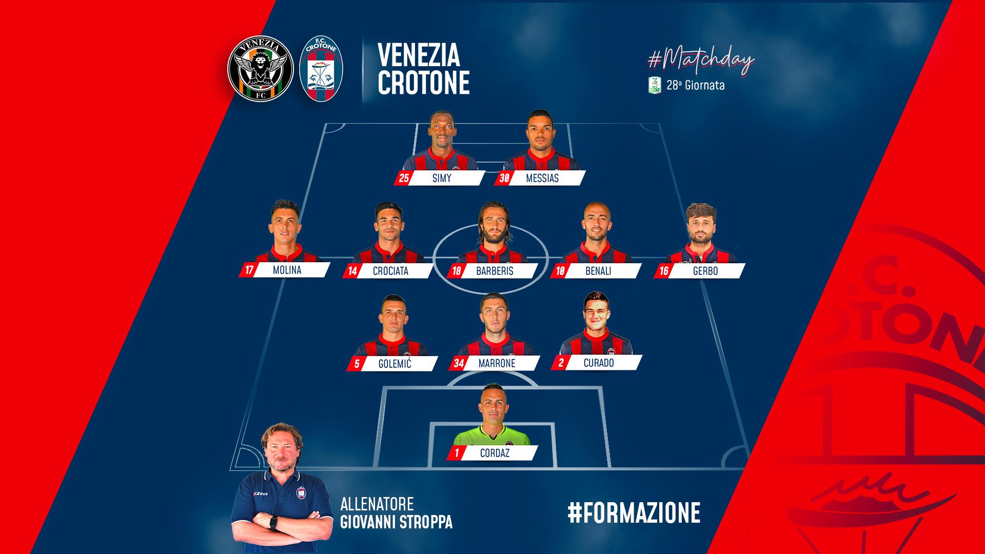 #VeneziaCrotone, le formazioni ufficiali
