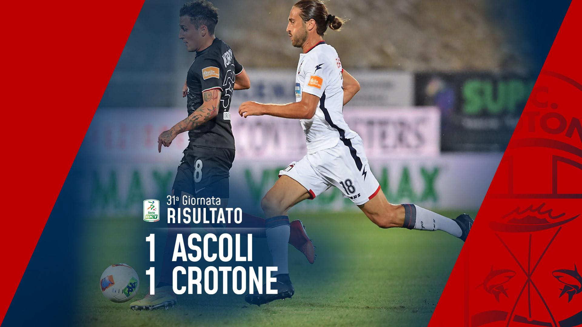 Serie BKT, 31ª giornata: Ascoli-Crotone 1-1