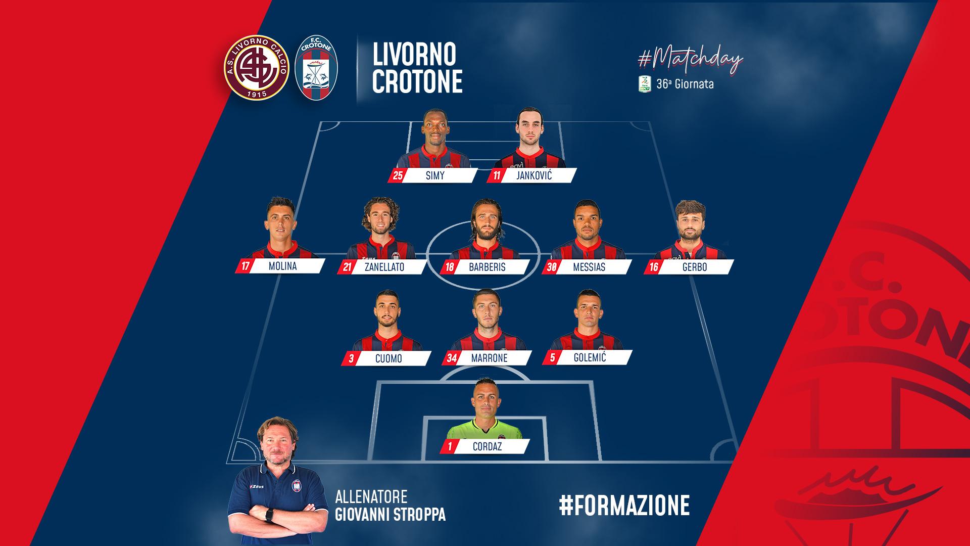 #LivornoCrotone, le formazioni ufficiali