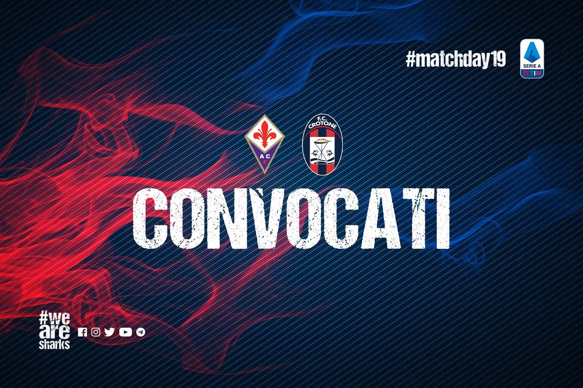 #FiorentinaCrotone, i convocati di Stroppa