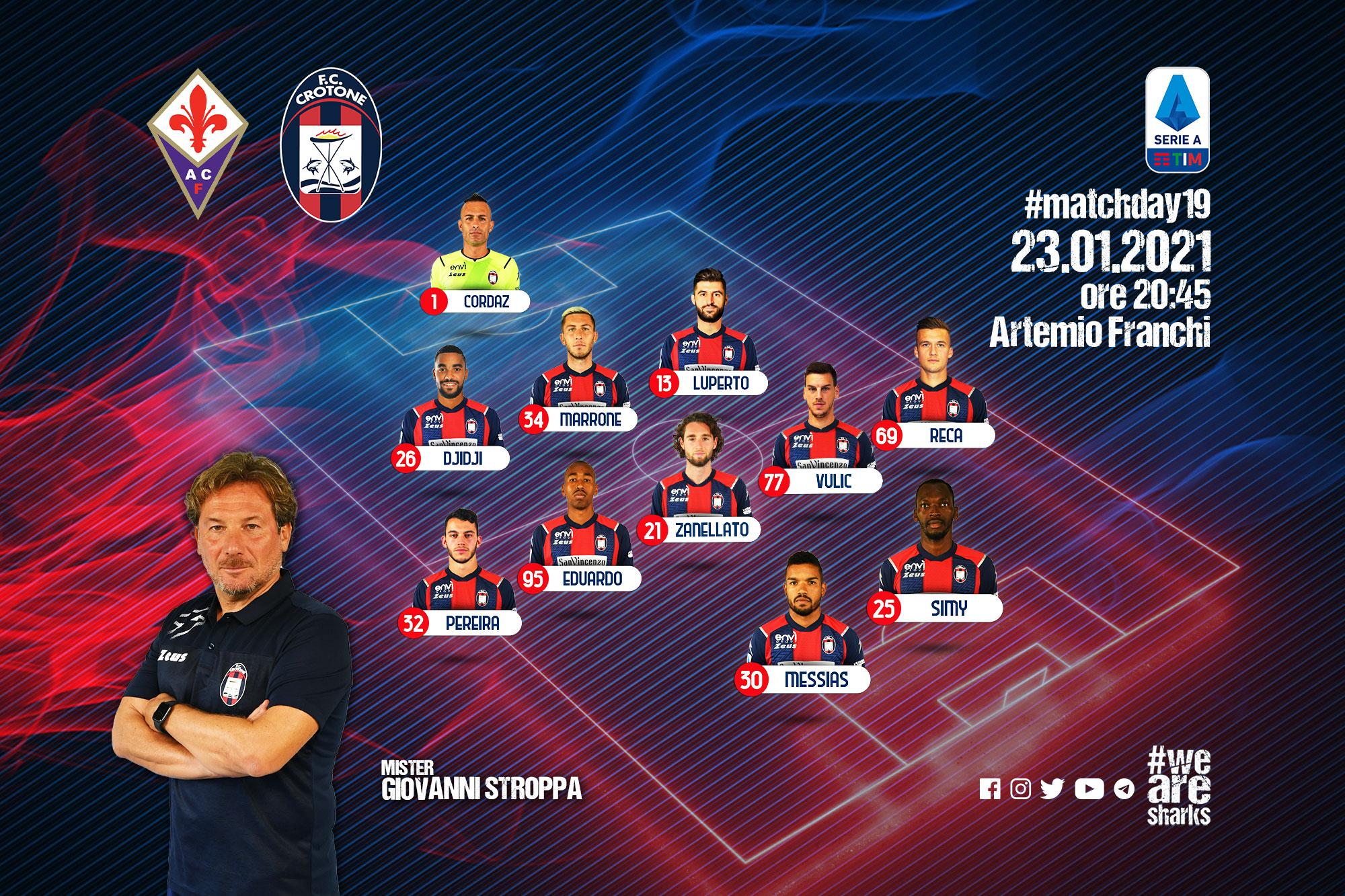 #FiorentinaCrotone, le formazioni ufficiali
