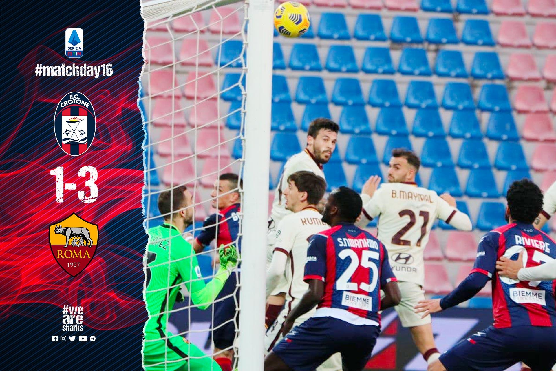 Serie A Tim, 16ª giornata: Crotone-Roma 1-3