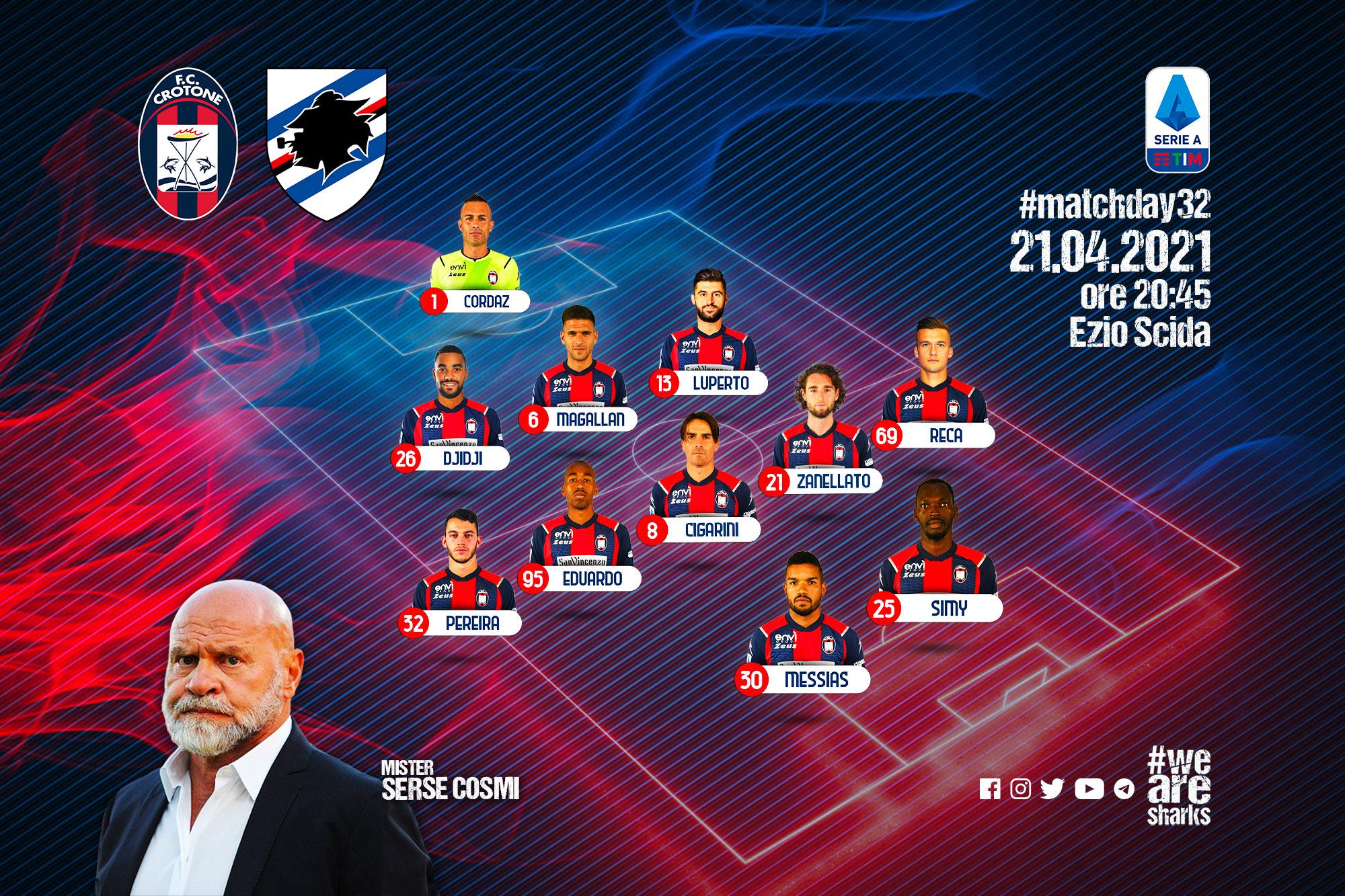 #CrotoneSampdoria, le formazioni ufficiali