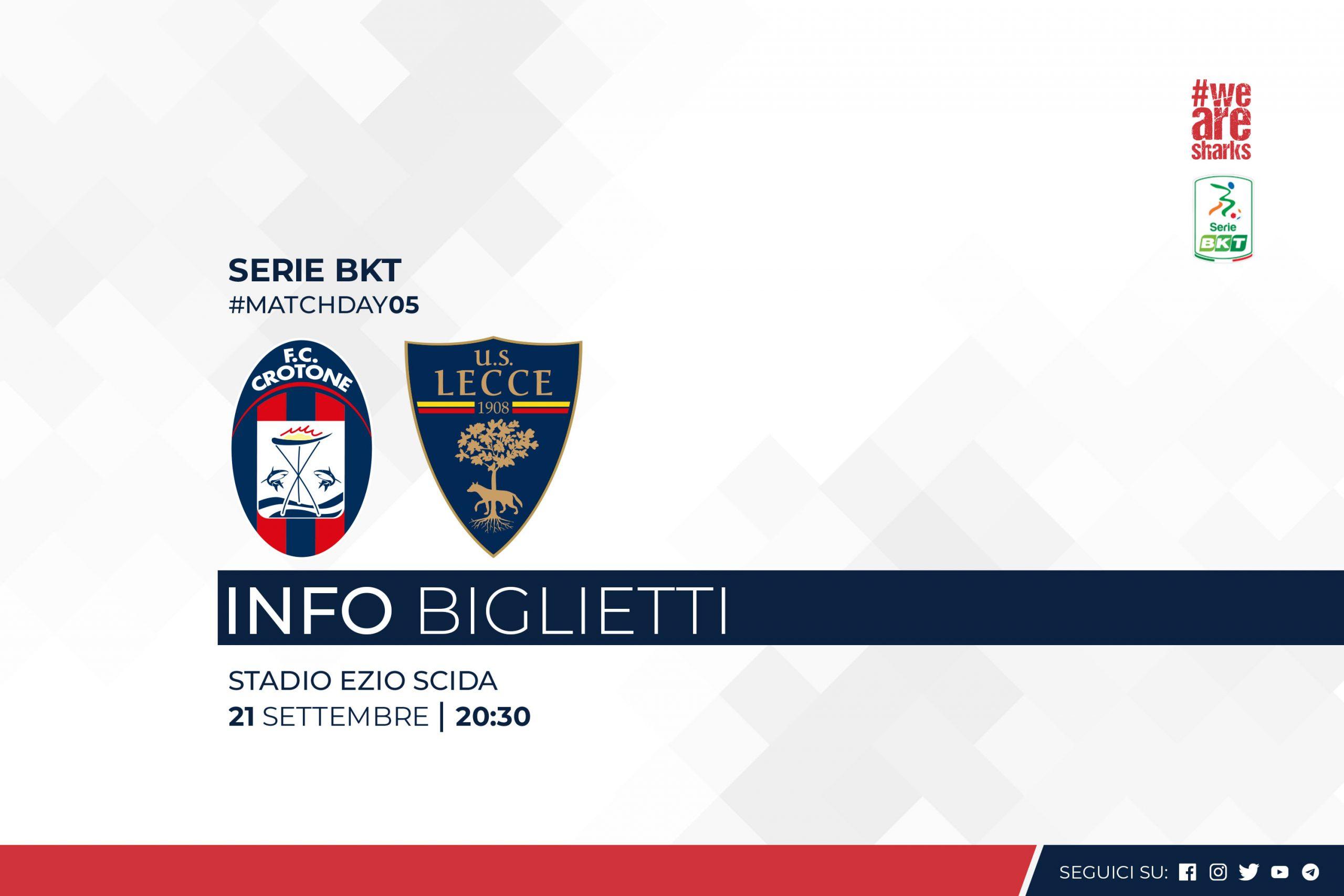 5ª giornata Serie BKT, #CrotoneLecce: info biglietti