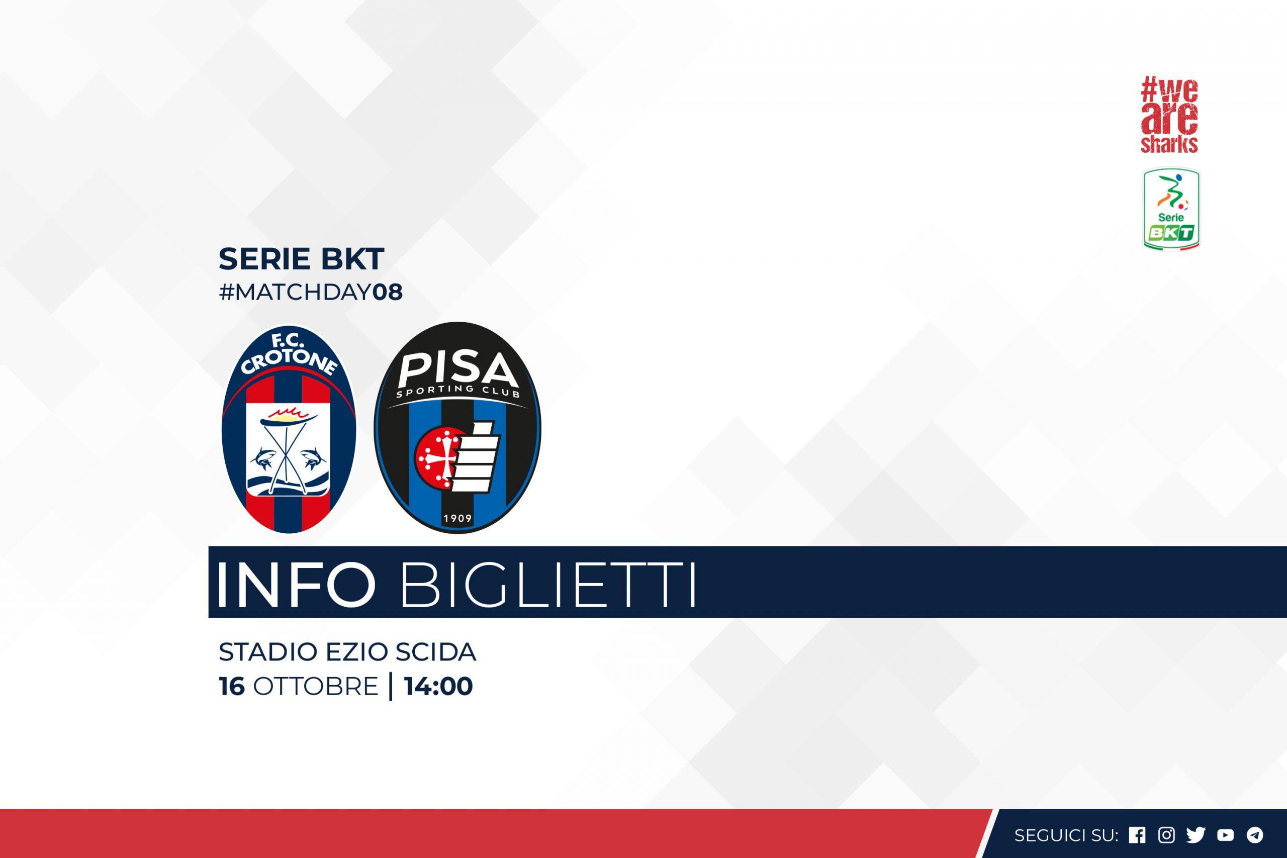 8ª giornata Serie BKT, #CrotonePisa: info biglietti